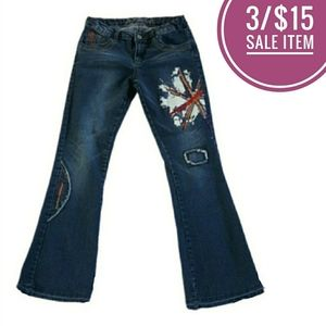 British Embellished Painted Distressed Jeans